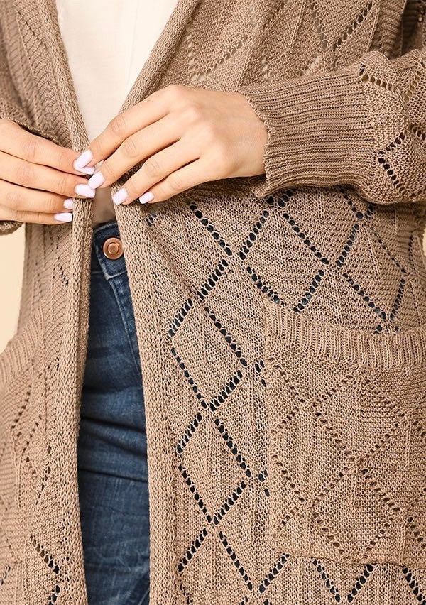 Lightweight Sweater Open Front Cardigan with Side Slits