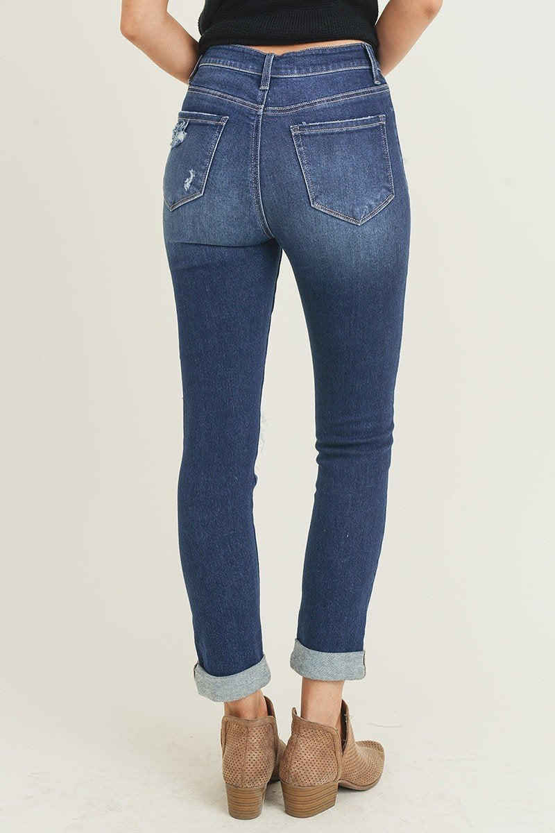 High Rise Distressed Patched Up Skinny Jeans