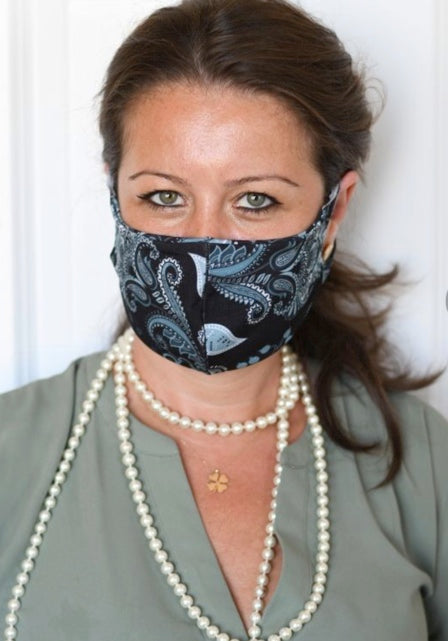 Black Gray Paisley Double Layer Mask
