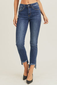 High Waist Raw Hem Easy Fit Straight Jeans