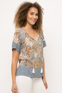 Mix Print Short Sleeve Top With Tassels
