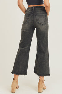 High Waist Frayed Ankle Wide Jeans