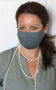 Black/Green Mini Houndstooth Single Layer Mask
