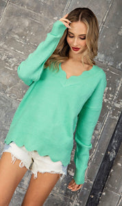 Scalloped Edge V-Neck Sweater Top