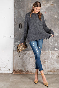 Fray Oversized Pullover Sweater