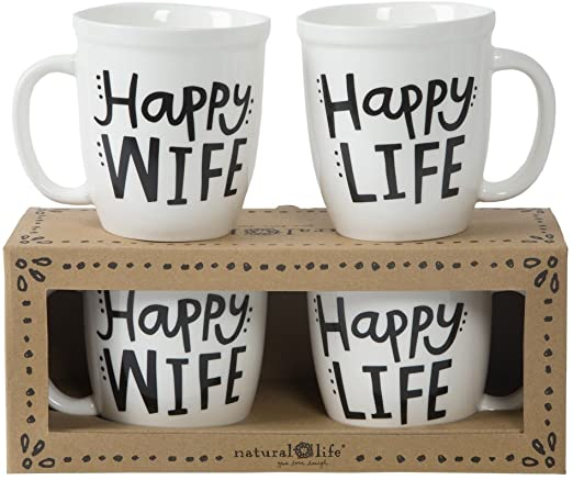 Happy Wife/Life Set of 2 Mugs