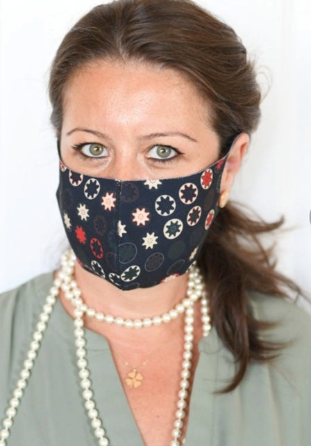Red & Beige Coin Star Double Layer Mask