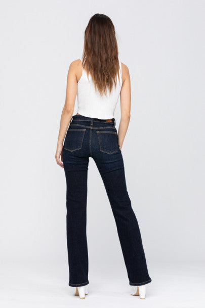 Whiskered Dark Bootcut Jeans