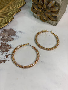 Pave Crystal Hoop Earrings