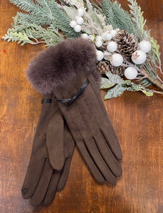 Faux Fur Trimmed Gloves