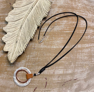 Circles & Leather Necklace