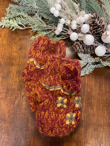 Embroidered Fingerless Knit Gloves
