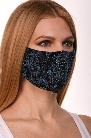 Teal Floral Sparkles Single Layer Mask