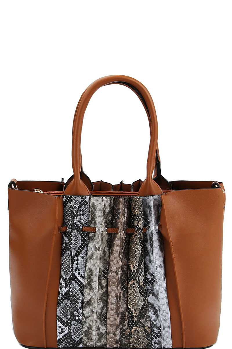 Multi Tone Python Front Satchel With Long Strap