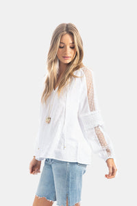 Pretty Swiss Dot & Lace Blouse