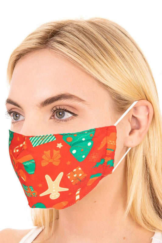 Jolly Christmas Print Adult Face Mask