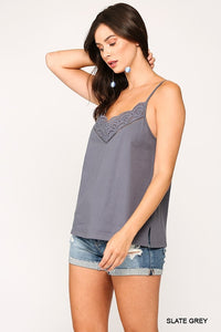 Eyelet Lace Detail Adjustable Strap Cami Top