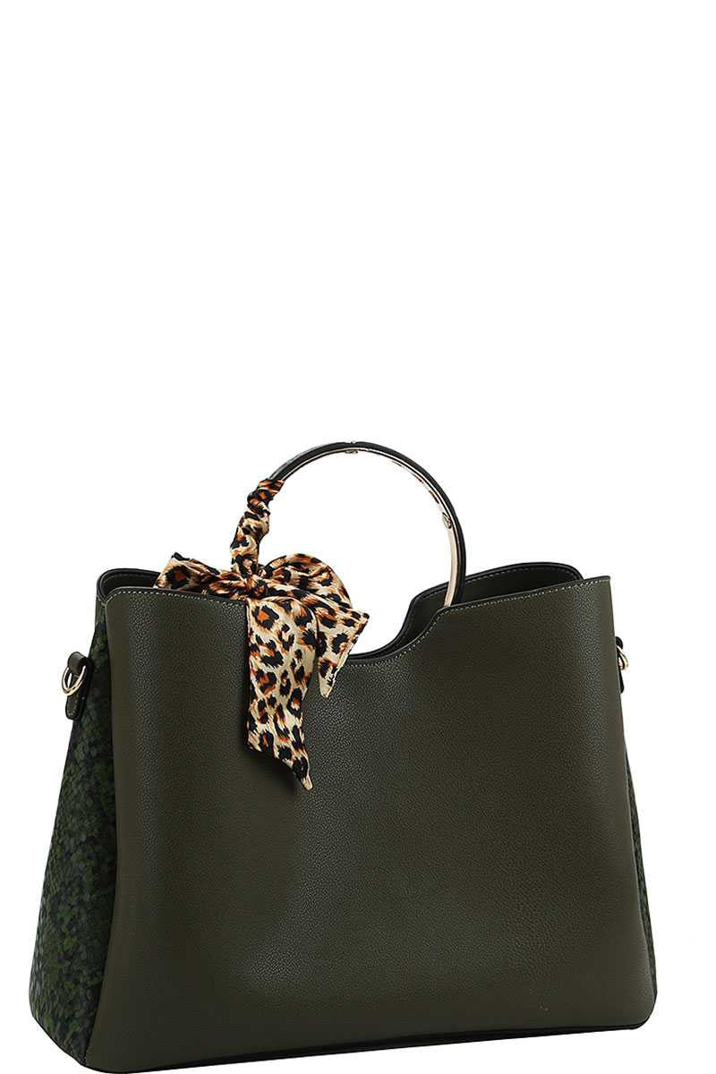Animal Two Tone And Silky Scarf Satchel