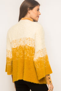 Color Mix Texture Open Cardigan