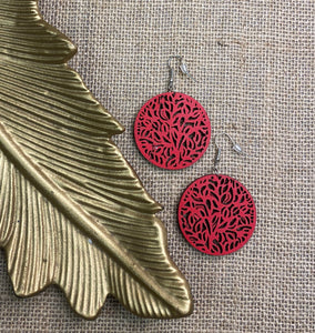 Laser Cut Faux Leather Earrings