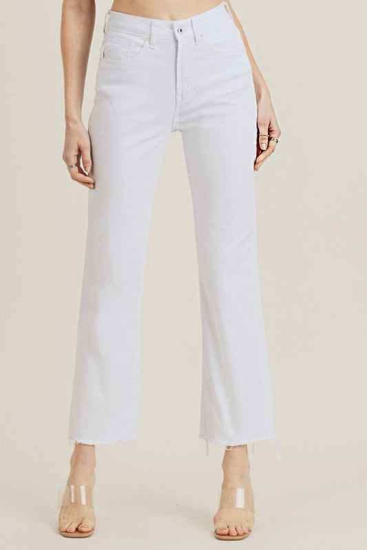 White High Waist Raw Hem Straight Leg Jeans