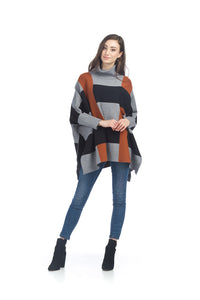 Color Blocked Poncho Sweater