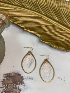 Oval & Diamond Earrings