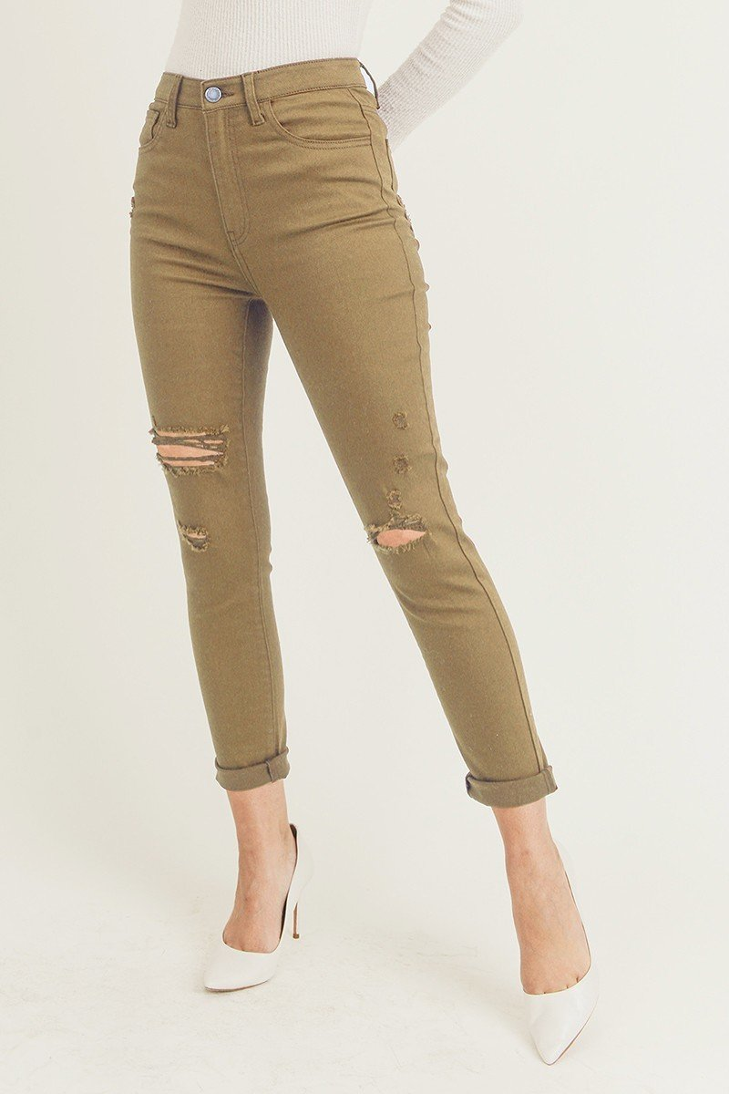 Color Distressed Relaxed Skinny Jeans