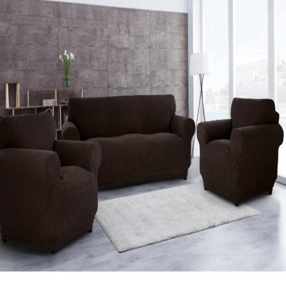 Camara-Textiles: Brown sofa cover. 3seater + 2seater + 1seater