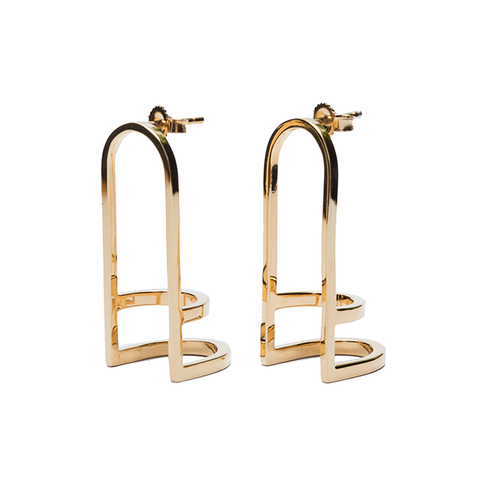 Triple Arc Earrings | Gold