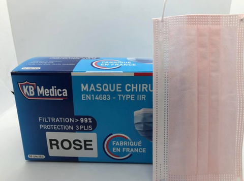 Boite de 50 masques chirugicaux TYPE IIR 99% ROSE MADE IN FRANCE