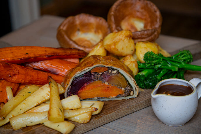 Roasted Root Vegetable & Pine Nut Wellington Roast (Vegan)