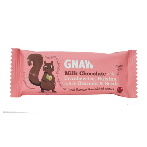 Gnaw Milk Chocolate with C/Berries, Raisins, Granola & Seeds Impulse Bar [WHOLE CASE] by Gnaw Chocolate - The Pop Up Deli