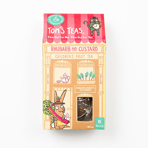 Tom's Teas Rhubarb and Custard Children's Fruit Tea 25g [WHOLE CASE] by Tom's Teas - The Pop Up Deli