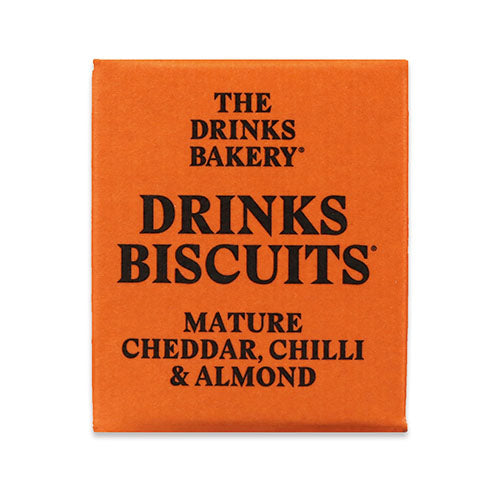 Drinks Biscuits - Mature Cheddar, Chilli & Almond 20g [WHOLE CASE] by The Drinks Bakery - The Pop Up Deli
