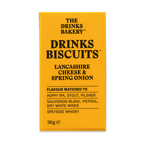 Drinks Biscuits - Lancashire Cheese & Spring Onion 36g [WHOLE CASE] by The Drinks Bakery - The Pop Up Deli