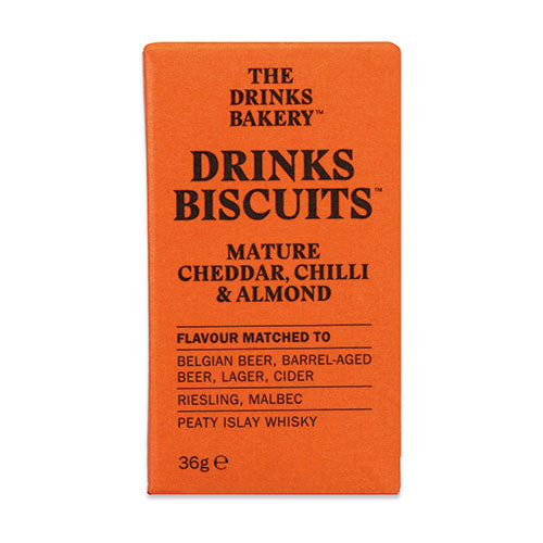 Drinks Biscuits - Mature Cheddar, Chilli & Almond 36g [WHOLE CASE] by The Drinks Bakery - The Pop Up Deli