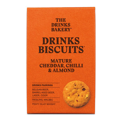 Drinks Biscuits - Mature Cheddar, Chilli & Almond 110g [WHOLE CASE] by The Drinks Bakery - The Pop Up Deli