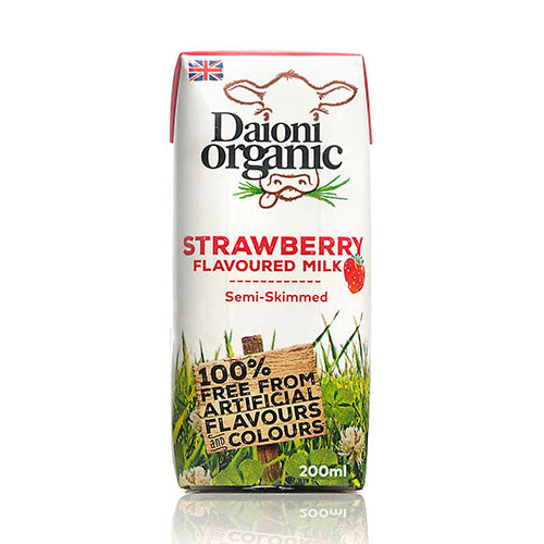 Daioni Organic Strawberry Flavoured Organic Milk 200ml [WHOLE CASE] by Daioni Organic - The Pop Up Deli