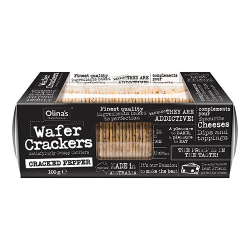 Olina's Bakehouse Wafer Crackers - Cracked Pepper 100g [WHOLE CASE] by Olina's Bakehouse - The Pop Up Deli