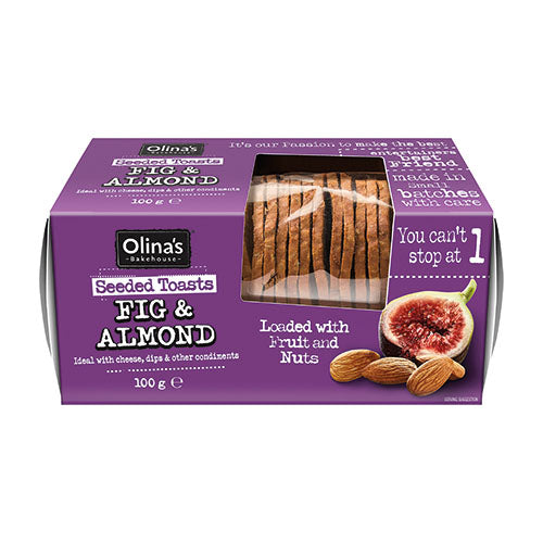 Olina's Bakehouse Seeded Toasts - Fig and Almond 100g [WHOLE CASE] by Olina's Bakehouse - The Pop Up Deli