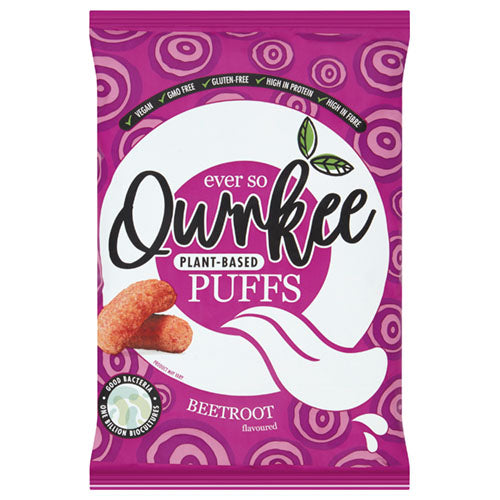 Qwrkee Puffs Beetroot Flavour 80g [WHOLE CASE] by Qwrkee Foods - The Pop Up Deli