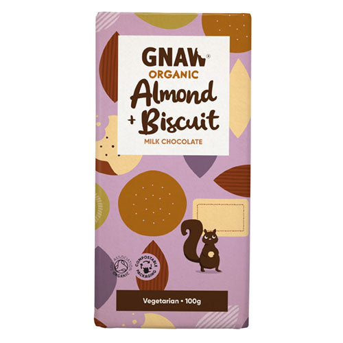 Gnaw Chocolate Organic Milk Chocolate Almond & Biscuit Bar 100g [WHOLE CASE] by Gnaw Chocolate - The Pop Up Deli