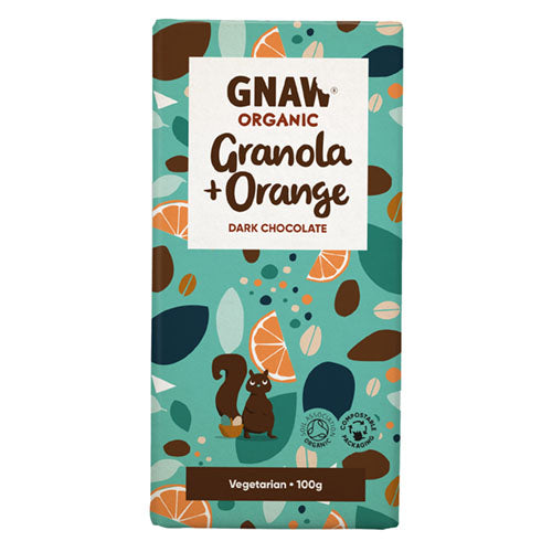 Gnaw Chocolate Organic Dark Chocolate Granola and Orange Bar 100g [WHOLE CASE] by Gnaw Chocolate - The Pop Up Deli