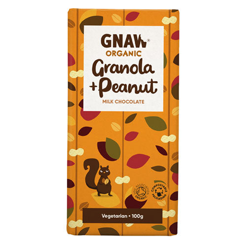 Gnaw Chocolate Organic Milk Chocolate Granola and Peanut Bar 100g [WHOLE CASE] by Gnaw Chocolate - The Pop Up Deli