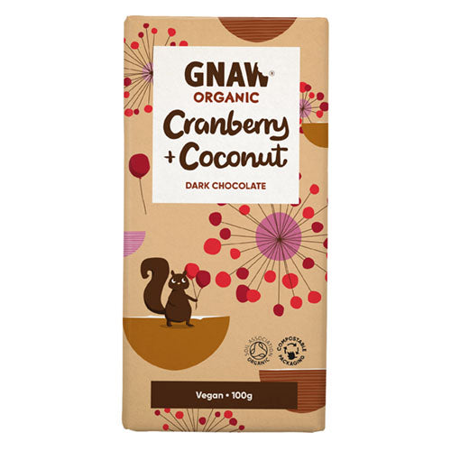 Gnaw Organic Dark Chocolate Cranberry & Coconut [WHOLE CASE] by Gnaw Chocolate - The Pop Up Deli
