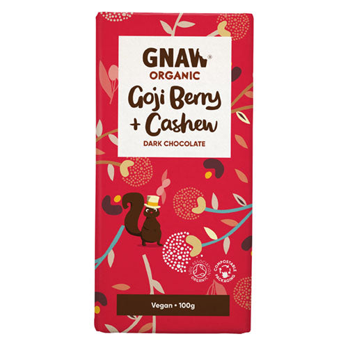 Gnaw Organic Dark Chocolate Gogi Berry & Cashew [WHOLE CASE] by Gnaw Chocolate - The Pop Up Deli