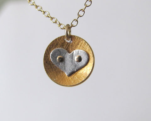 Riveted Baby Disc necklace