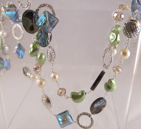 Abalone & Crystal necklace