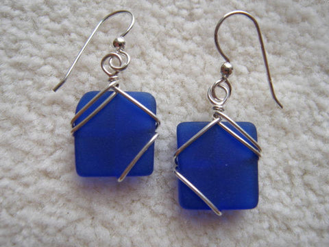 Wrapped Seaglass earrings